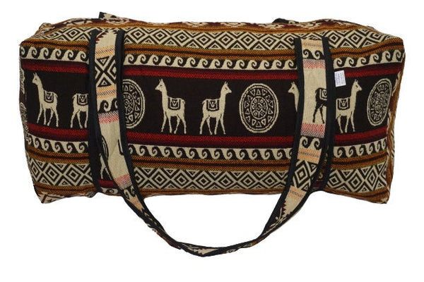 Luggage | Brown Maroon Beige Large Hippie Duffel Bag | Bohemian Duffel Bag | Tribal Gym Bag | Yoga Bag | Llama Bag