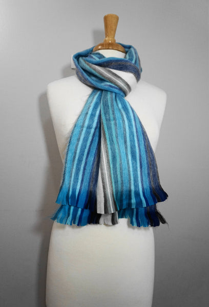 Turquoise White Alpaca Scarf | Cozy Scarf | Winter Scarf | Scarves and Wraps