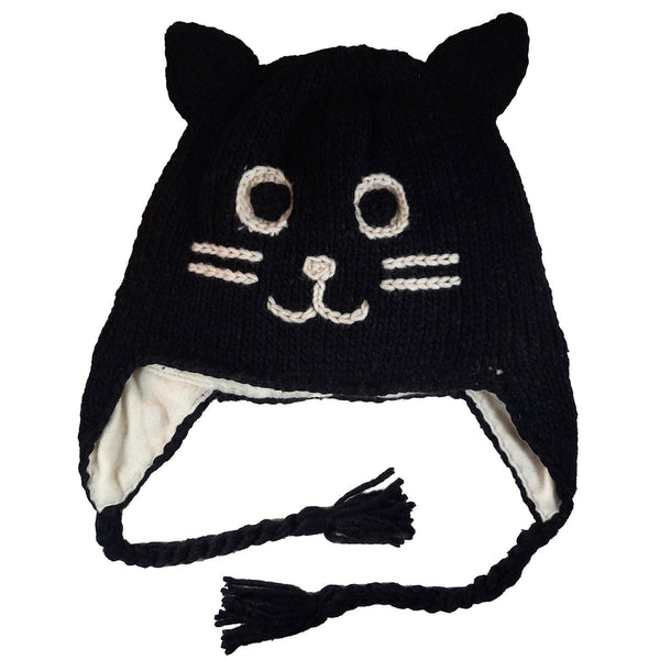 Black Cat Beanie Hat Winter Beanie Hat for Toddlers Boys or Girls Stretchy Hat Photo Prop Adults Hat Wool Animal Hat