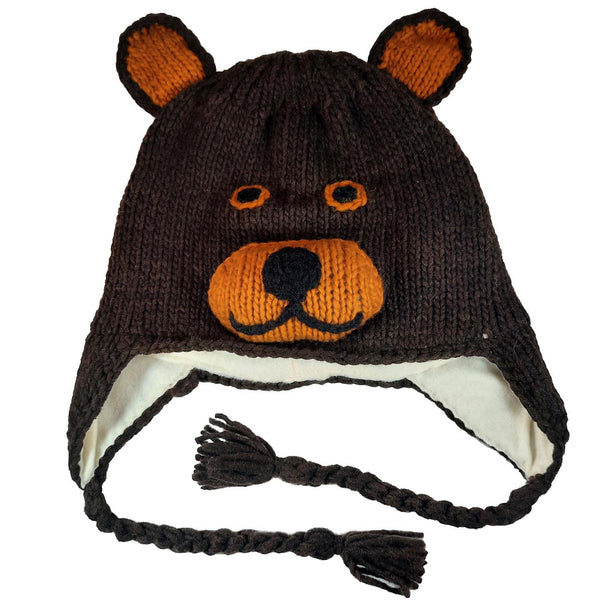 Bear Hat Winter Beanie Hat for Toddlers Boys or Girls Stretchy Hat Photo Prop Adults Hat Wool Animal Hat
