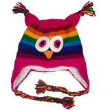 Owl Beanie Hat Winter Hat Unisex Winter Beanies Kids Beanie Hat Knitted Hat Stretchy Beanie Adult Magenta Rainbow