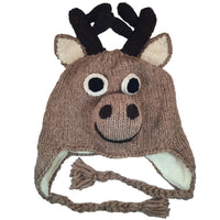 Moose Hat Winter Beanie Hat for Toddlers Boys or Girls Stretchy Hat Photo Prop Adults Hat Wool Animal Hat
