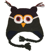 Owl Hat Winter Beanie Hat for Toddlers Boys or Girls Stretchy Hat Photo Prop Adults Hat Wool Animal Hat Green Brown