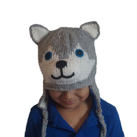 Husky Hat Winter Beanie Hat for Toddlers Boys or Girls Stretchy Hat Photo Prop Adults Hat Wool Animal Hat