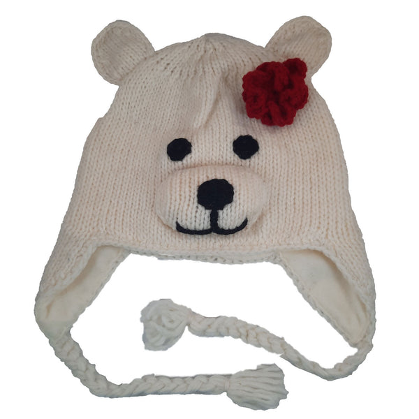 Girl Polar Bear with Red Bow Beanie Hat with Earflaps | Animal Beanie Hat | Winter Hat