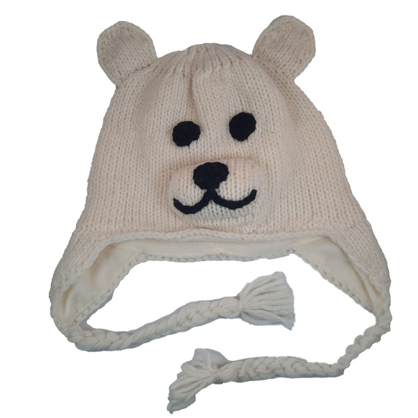 Polar Bear Beanie Hat with Earflaps | Animal Beanie Hat | Winter Hat