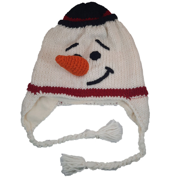 White Snowman with Carrot Nose | Warm Winter Hat | Knitted Beanie Hat with Earflaps | Animal Beanie Hat | Wool Winter Hat
