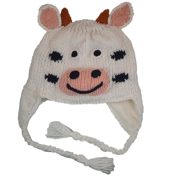 White Cow Knitted Beanie Hat with Earflaps | Animal Beanie Hat | Wool Winter Hat