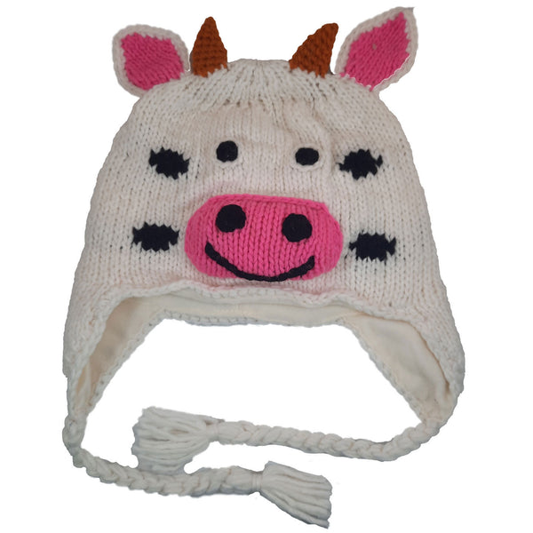 White Pink Cow Knitted Beanie Hat with Earflaps | Animal Beanie Hat | Wool Winter Hat