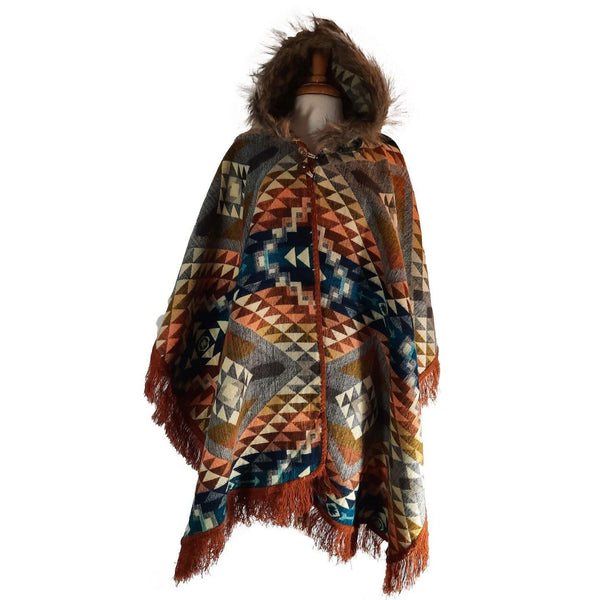 Alpaca Poncho | Hippie Poncho Women | Ruana Shawl | Hooded Cape | Hooded Coat Faux Fur | Mens Poncho Hoodie | Gray Colorful Christmas gift
