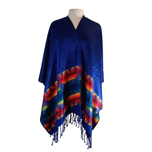 Poncho | Soft Ruana Shawl | Reversible Poncho Women | Mens Poncho | Lightweight Poncho | Hippie Poncho | Royal Blue Cape | Christmas Gift