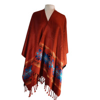 Poncho | Soft Ruana Shawl | Reversible Poncho Women | Mens Poncho | Lightweight Poncho | Hippie Poncho | Burnt Orange Cape | Christmas Gift