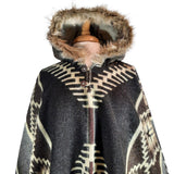 Alpaca Poncho | Warm Poncho Women | Hooded Coat Faux Fur | Hooded Cape | Hippie Poncho | Mens Poncho Hoodie | Brown Black | Christmas Gift