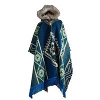 Alpaca Poncho | Poncho Women | Wool Ruana | Hooded Cape | Warm Poncho | Hippie Poncho | Hooded Coat Faux Fur | Teal | Christmas Gift
