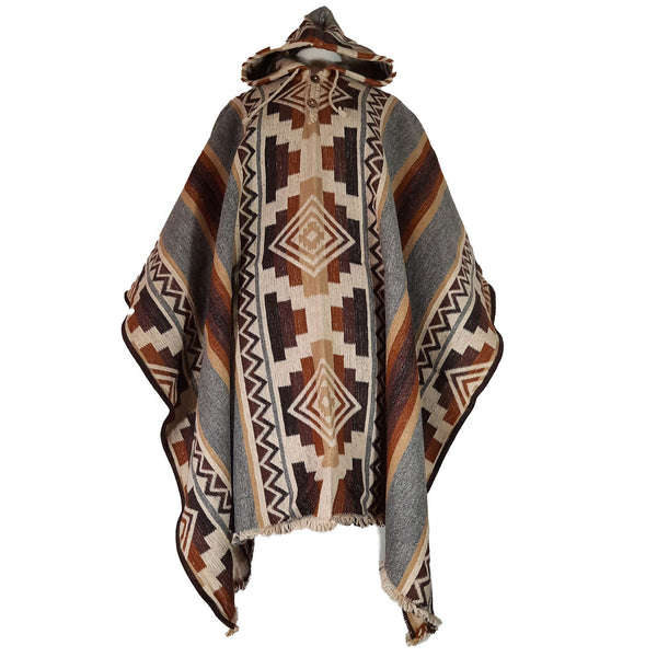 Sheep Wool Poncho |  Warm Poncho | Poncho Women | Mens Poncho Hoodie | Heavy Winter Poncho | Hippie Poncho | Brown Gray | Christmas Gift