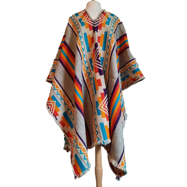 Sheep Wool Poncho |  Warm Poncho | Poncho Women | Mens Poncho | Heavy Winter Poncho | Hippie Poncho | Beige Colorful | Christmas Gift