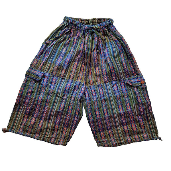 Shorts | Boho Clothing | Woven Boho Shorts Size 2XL | Blue Colorful Hippie Shorts | Tribal Womens | Mens Cargo Shorts | Valentines Gift