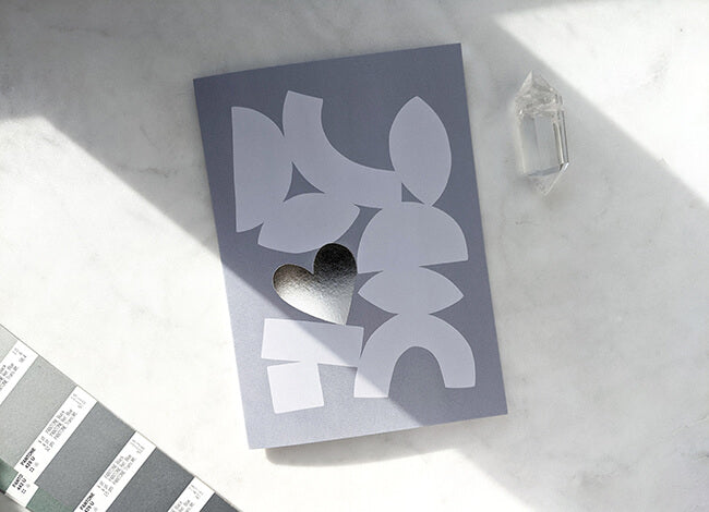 Modern Love Card with grey abstract shapes with silver heart