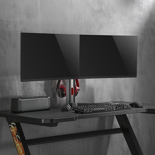 Brateck Dual Screen Classic Pro Gaming Monitor Stand for Most 17' to 27' Monitor, Up to 7kg/Screen-Black Color