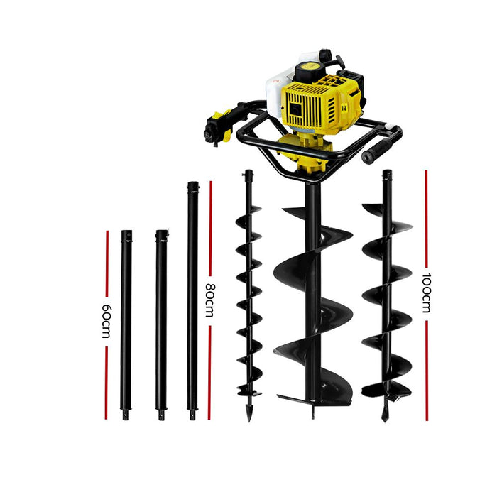 Giantz 92CC Post Hole Digger Auger Petrol Drill Borer Fence Earth Power