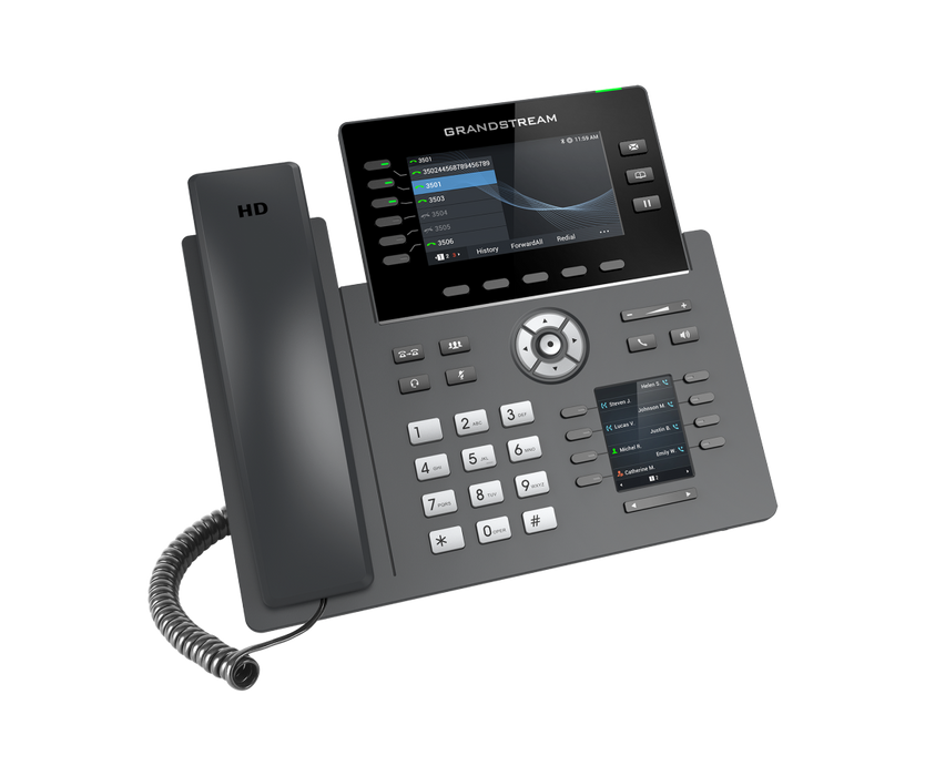 Grandstream GRP2616 6 Line IP Phone, 6 SIP Accounts, Colour Screen, Integrated Bluetooth+WiFi, Powerable Via POE