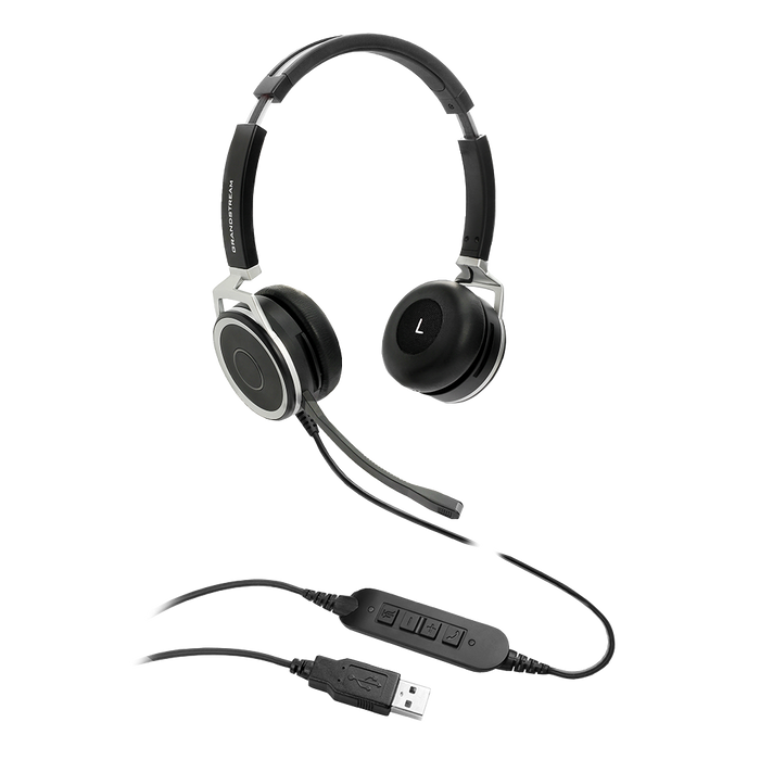 Grandstream GUV3005 Premium Dual Ear USB Headset, Busy Light, Noise Canceling Microphone, 2m USB Cable, for Teams, Zoom, 3CX