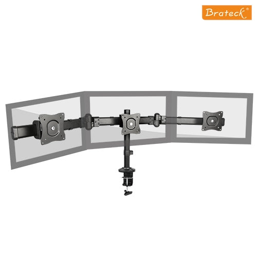 Brateck Triple Monitor Arm Mounts with Desk Clamp VESA 75/100mm Up to 27'