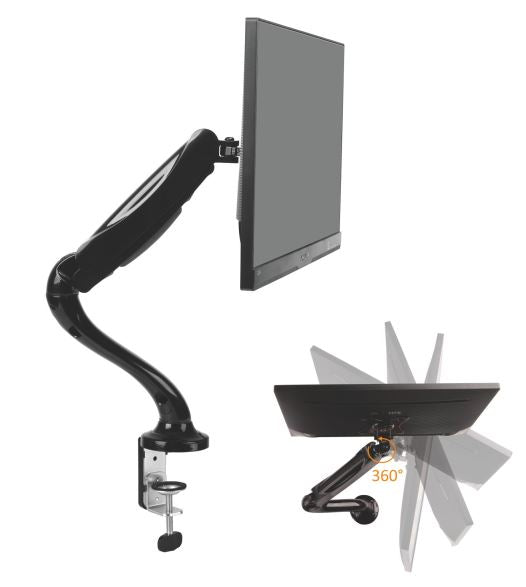 Brateck Single Monitor Interactive Single Counterbalance LCD VESA Desk Clamp and Grommet Mount for 13''-27'' LCD Monitors