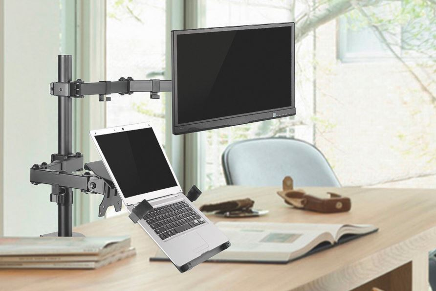 "Brateck Economical Double Joint Articulating Steel Monitor Arm with Laptop Holder for 13""-32"" Monitors, Up to 8kg/Screen"