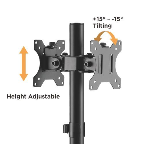 "Brateck Articulating Pole Mount Dual Stand For 17""-32"" Monitors 8kg per screen"