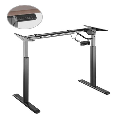 Brateck 2-Stage Single Motor Electric Sit-Stand Desk Frame with button Control Panel-Black Colour (FRAME ONLY)