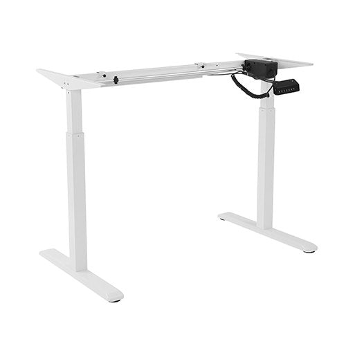 Brateck 2 Stage Single Motor Electric Sit-Stand Desk Frame with button Control Panel White Colour (FRAME ONLY)