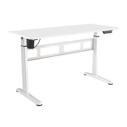 Brateck Stylish Single-Motor Sit Stand Height Adjustable Desk (White) 1400x600x740 1200mm