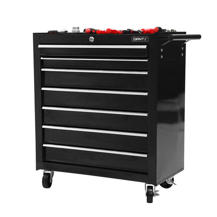 Giantz Tool Chest and Trolley Box Cabinet 7 Drawers Cart Garage Storage Black