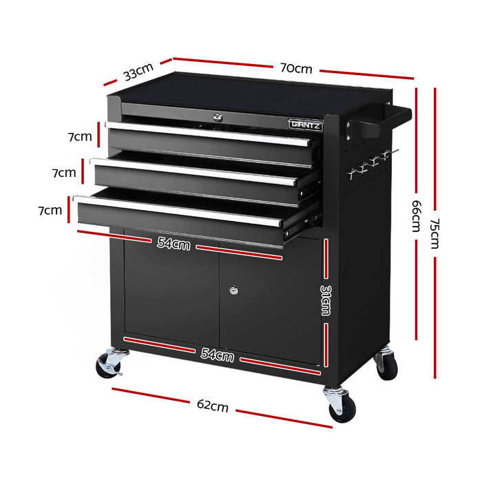 Giantz Tool Box Chest Cabinet Trolley Cart Storage Drawers Black