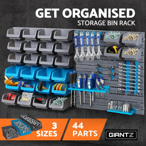 Giantz 44 Bin Wall Mounted Storage Organiser Garage Tool Hanging Racks
