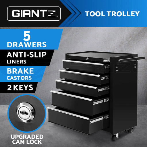 Giantz 5 Drawer Mechanic Tool Box Storage Trolley - Black