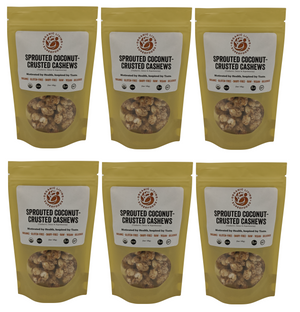 Organic Raw Sprouted Coconut-Crusted Cashews (6-packs or 1 lbs)
