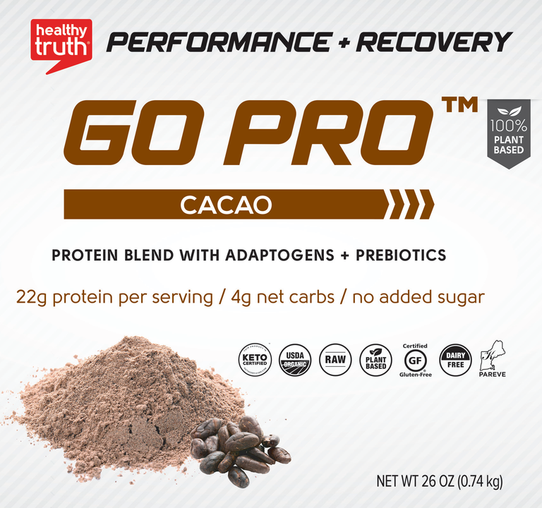 Organic Cacao Plant-Based Protein Powder - 22g of Pea, Sacha Inchi & Brown Rice Protein - 26oz