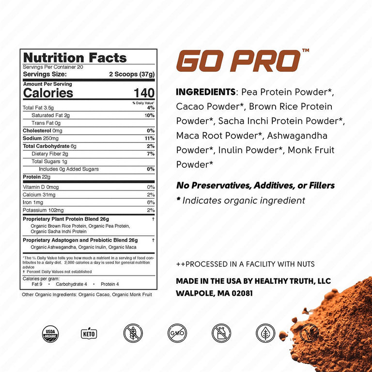 Organic Cacao Plant Protein Powder Pea Protein, Sacha Inchi Protein, Brown Rice Protein Nutrition Label