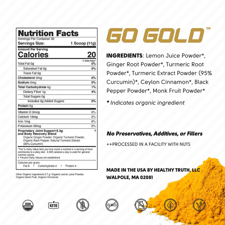 Organic Lemon Ginger Blend with Turmeric and Curcumin Nutrition Label