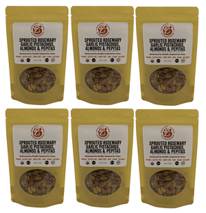 Organic Raw Sprouted Rosemary Garlic Pistachios, Almonds & Pepitas (6-packs or 1 lbs)
