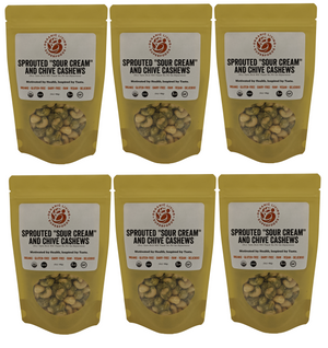 Organic Raw Sprouted Sour Cream & Chive Cashews (6-packs or 1 lbs)