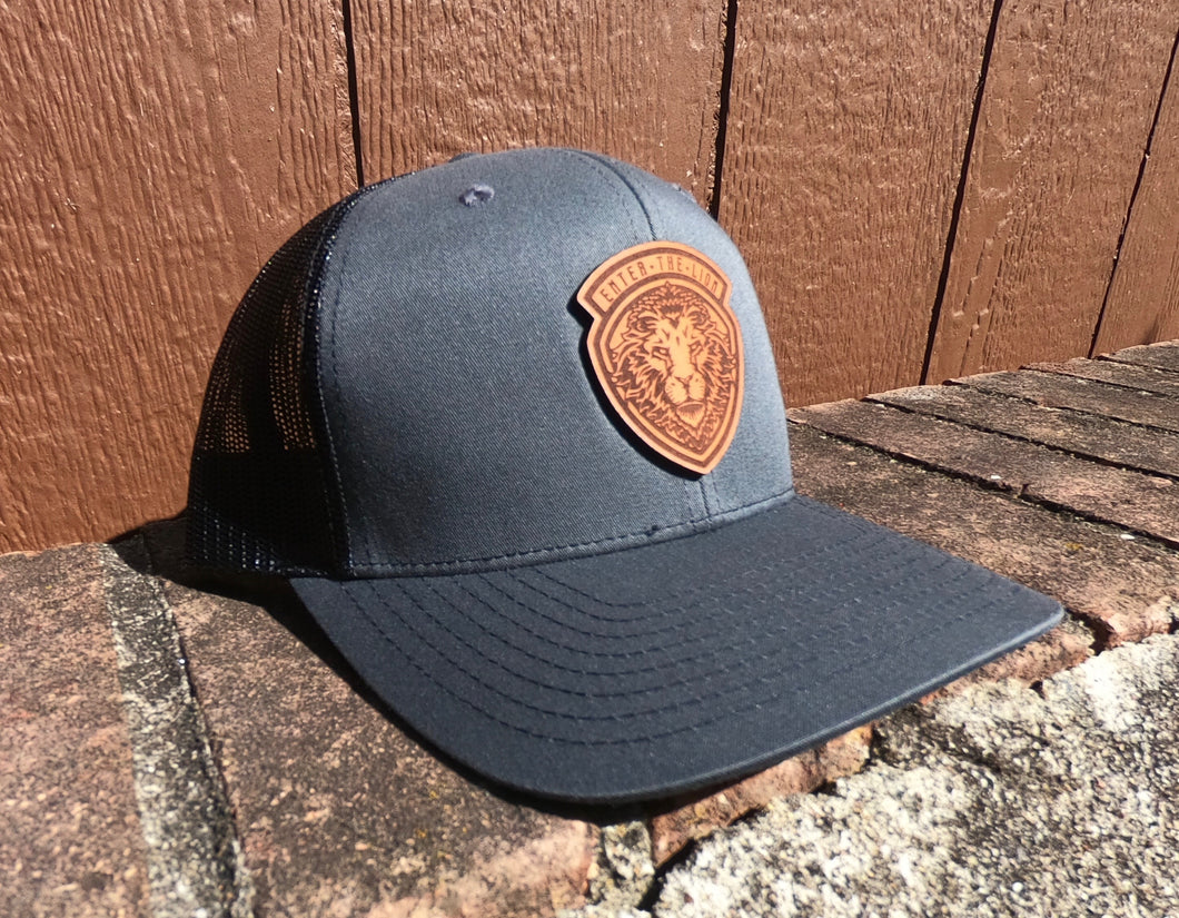 Leather Patch Hat - Charcoal Gray/Black