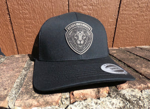 Leather Patch Hat - Black (Black Patch)