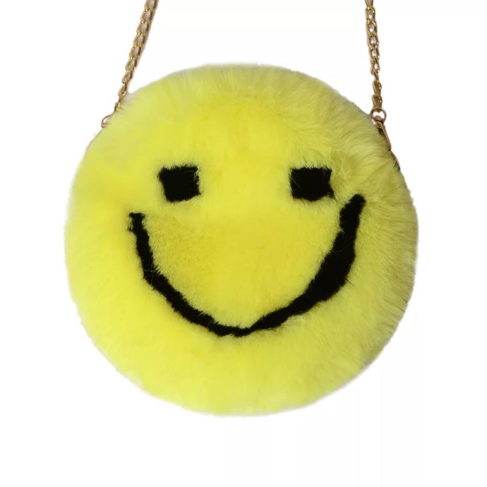 Plush smiley face purse (round)