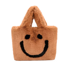 Load image into Gallery viewer, Plush faux fur smiley face purse