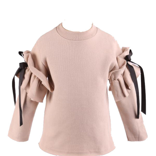 Crew neck sweater with ribbon detail