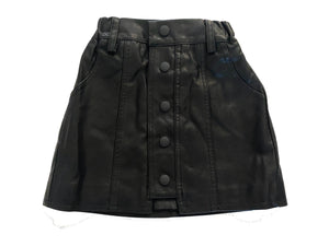 Faux Leather front snap skirt
