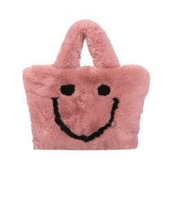 Plush faux fur smiley face purse